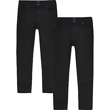 Boys black skinny fit jeans 2 pack