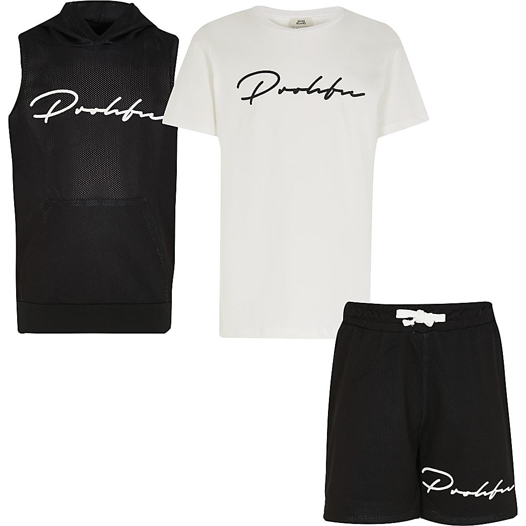 Boys black sleeveless 3 piece hoody set