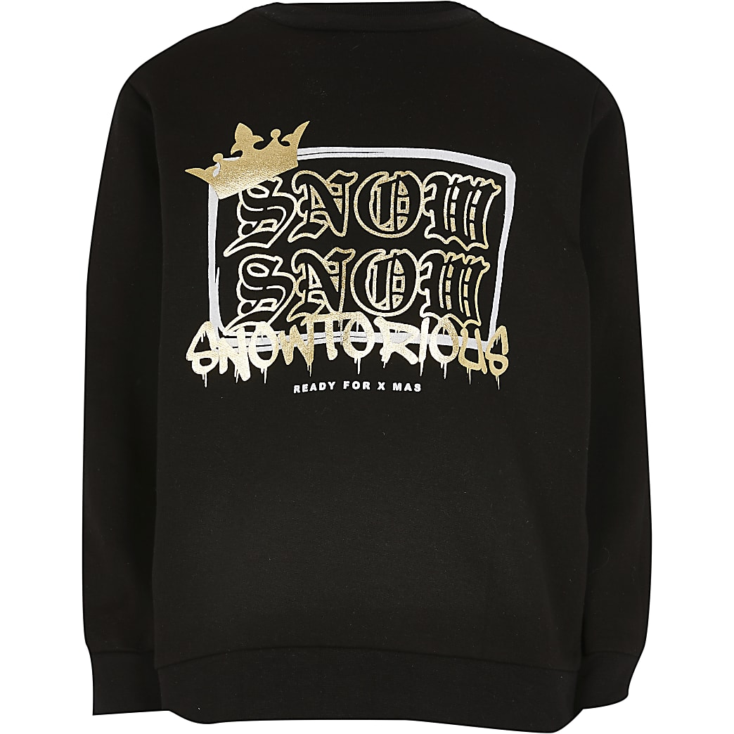 Boys black 'Snowtorious' foil sweatshirt