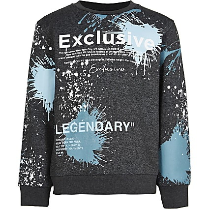 Boys black splatter print sweatshirt