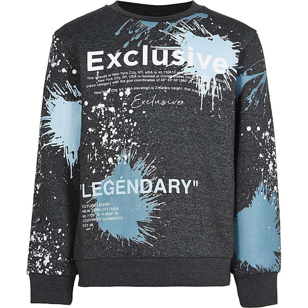 Boys black splatter print sweatshirt