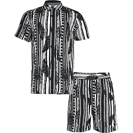 Boys black stripe chain leaf shirt outfit