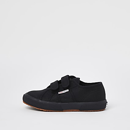 Boys black Superga plimsolls
