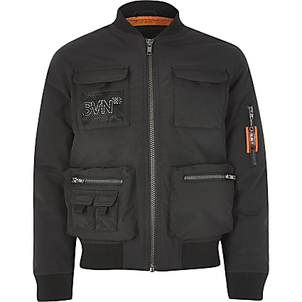 Boys black Svnth utility bomber jacket