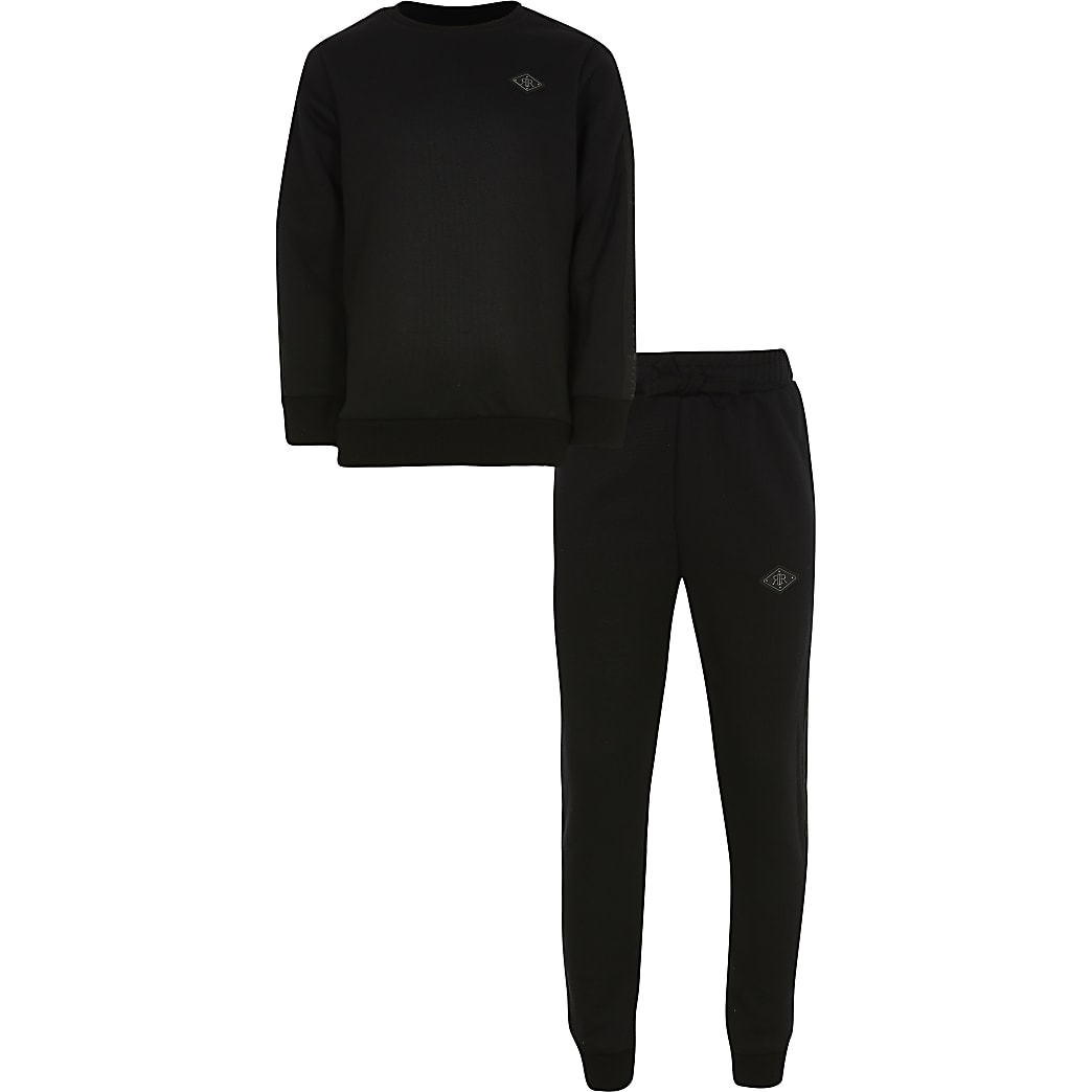 Boys black sweat and jogger outfit