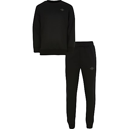 Boys black sweat and jogger set