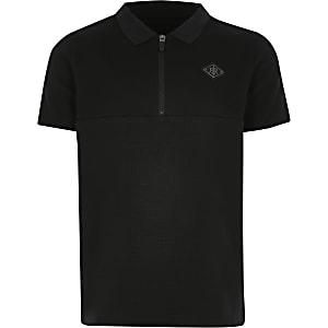 Schwarzes Poloshirt mit Kurzreißverschluss und Tape