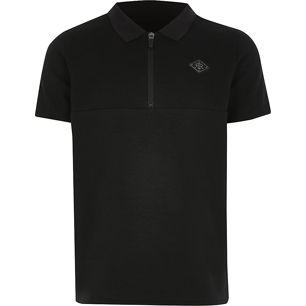 Boys black tape half zip polo shirt