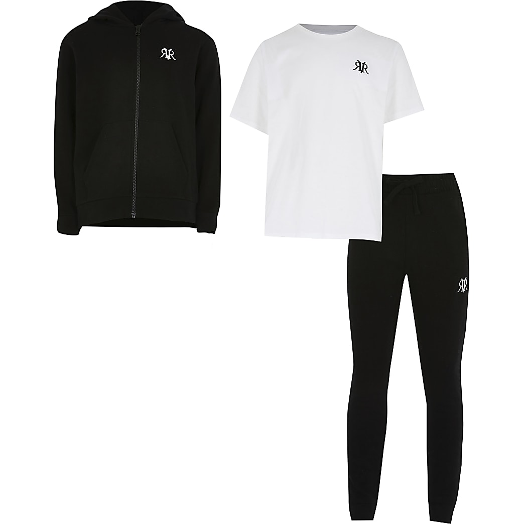 Boys black three piece tracksuit