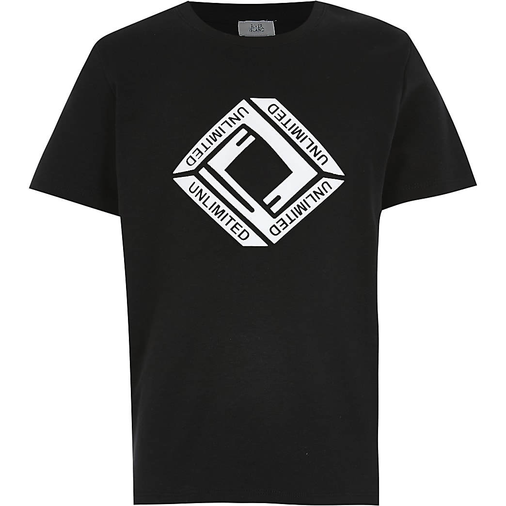 Boys black triangle embossed t-shirt