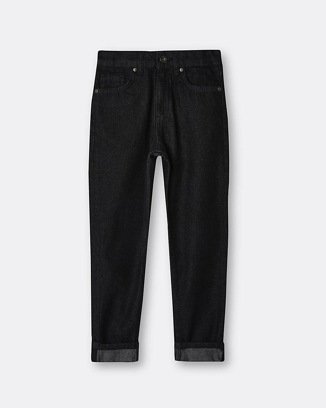 Boys black turn up skinny jeans