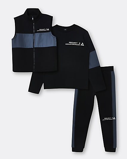 Boys black utility gilet and joggers outfit