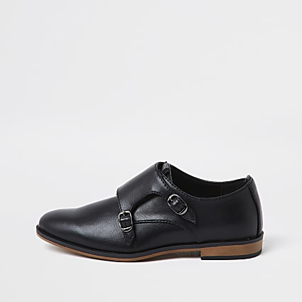 Boys black velcro monk strap shoe