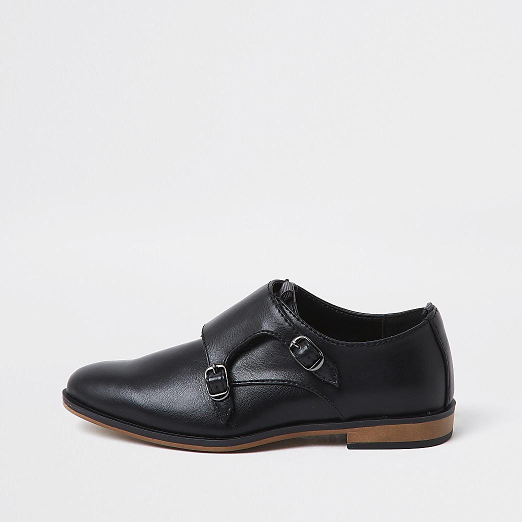 Boys black velcro monk strap shoe