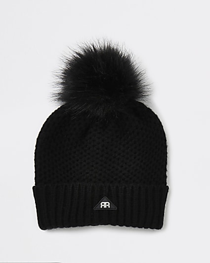 Boys black waffle knit beanie hat