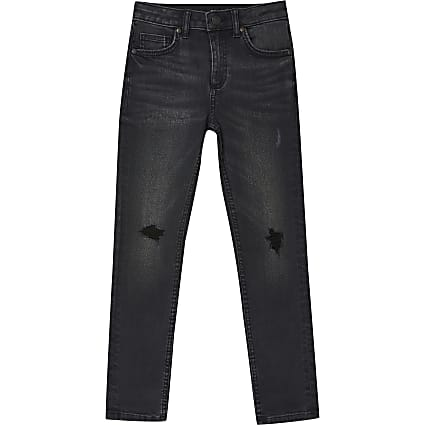 Boys black wash ripped skinny jean
