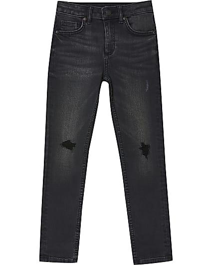 Boys black wash ripped skinny jeans