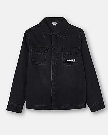 Boys black washed River denim shirt