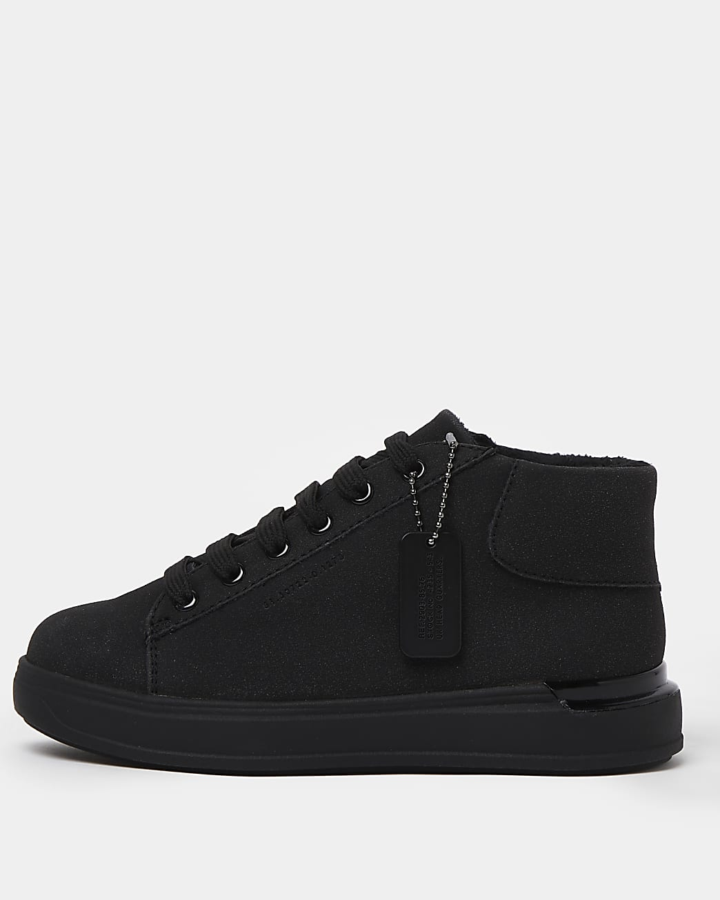 Boys black wedge heel lace up trainers