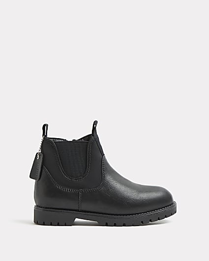Boys black wide fit chelsea boots