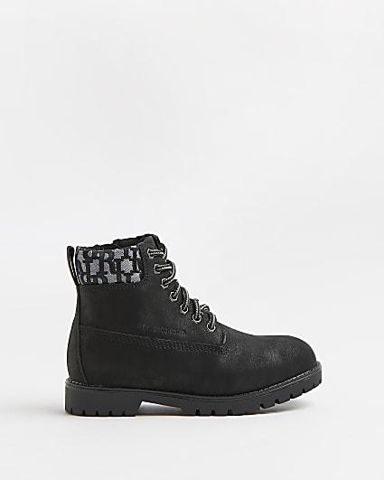 Boys black wide fit RI jacquard ankle boots