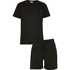 Set met zwart T-shirt met jacquard zigzagprint voor jongens