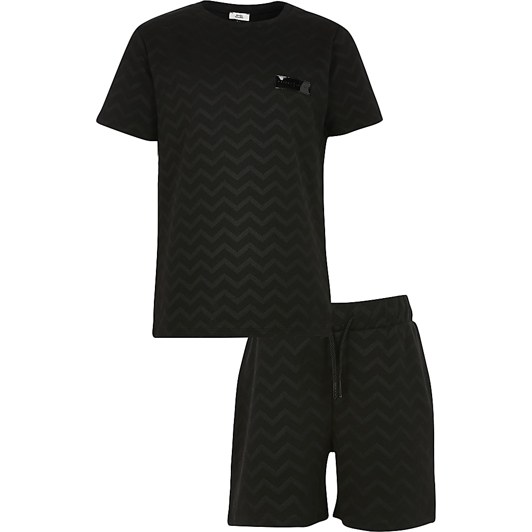 Boys black zig zag jacquard T-shirt set