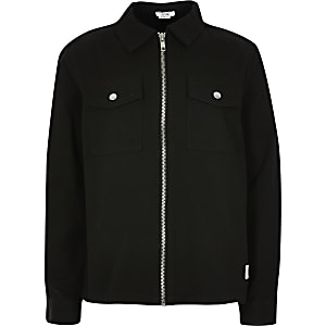Boys black zip through twill overshirt