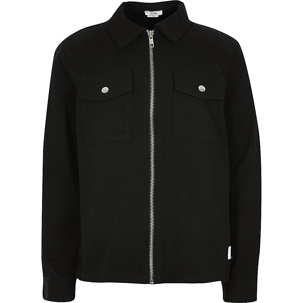 Boys black zip through twill overshirt