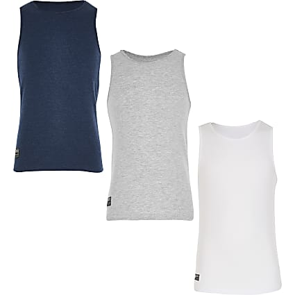 Boys blue 3 pack vests