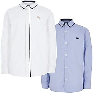 Set van 2 blauwe en witte overhemden met lange mouwen voor jongens