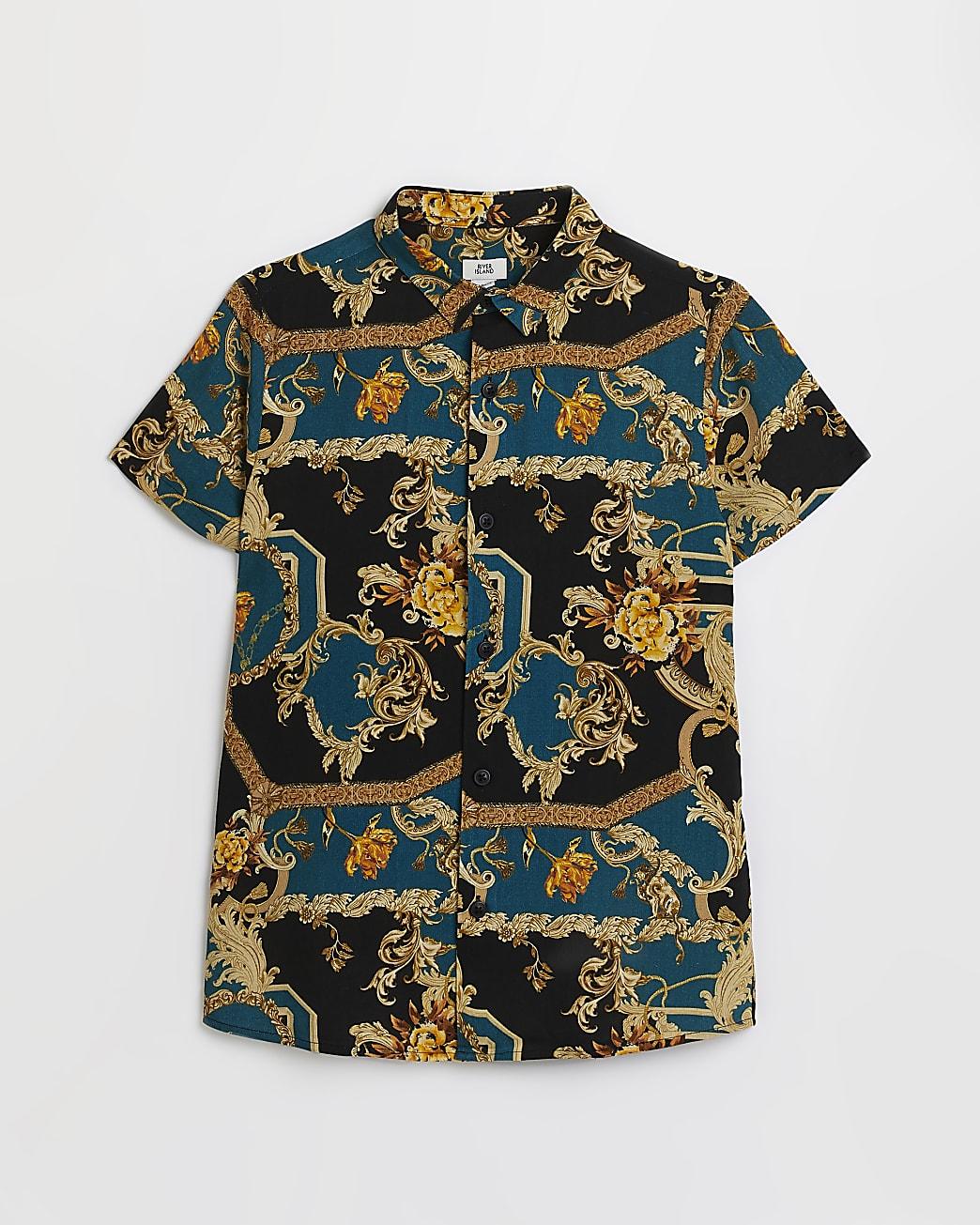 Boys blue baroque print shirt