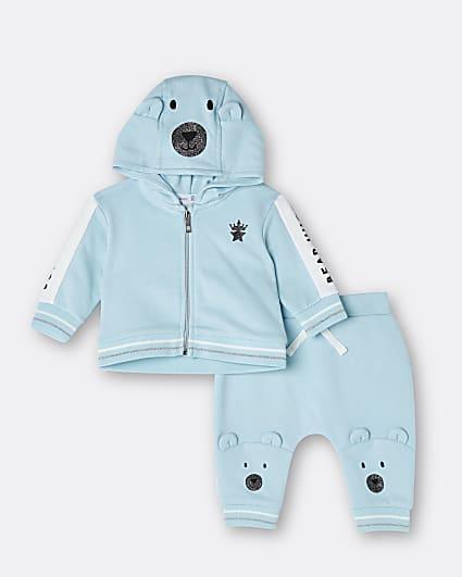 Boys blue bear zip hoodie outfit