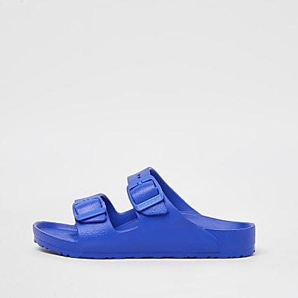 Boys blue Birkenstock double strap sandals