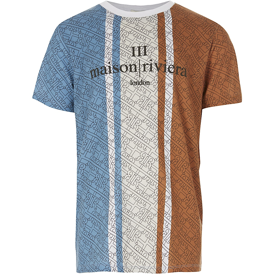 Boys blue blocked Maison Riviera T-shirt