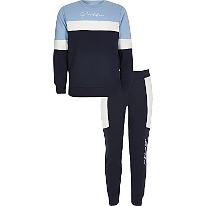 Boys blue blocked Prolific sweatshirt outfit