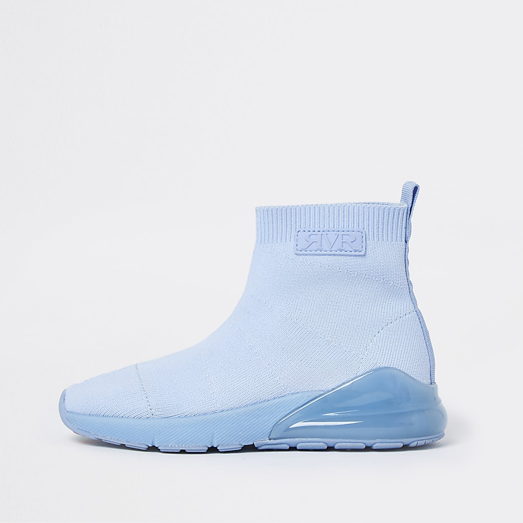 Boys blue bubble sock hi top trainers