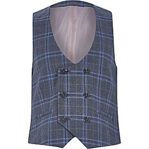 Blauw geruit double-breasted gilet voor jongens