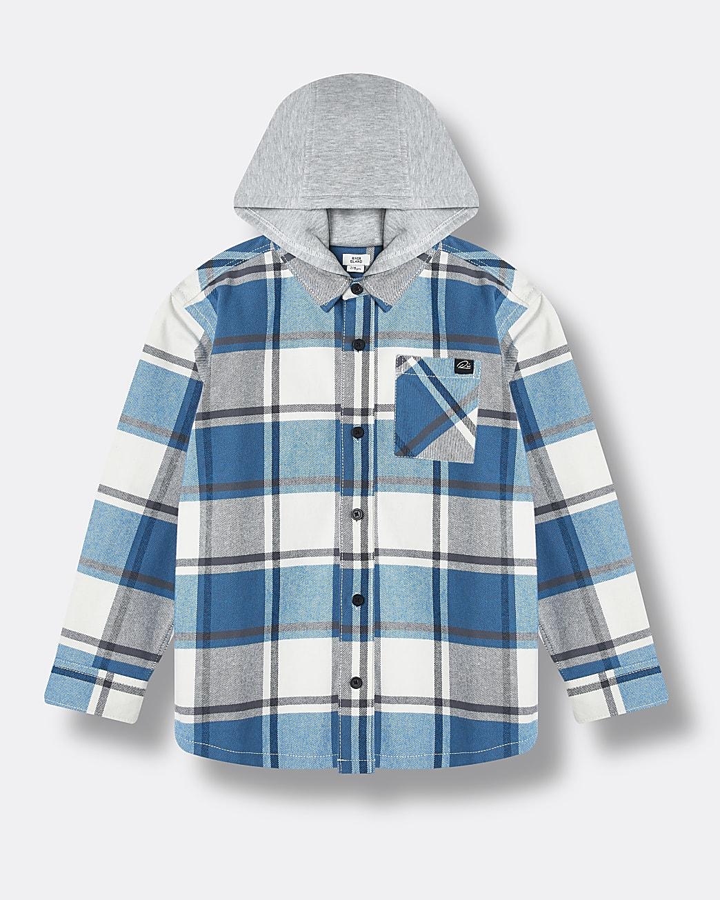 Boys blue check hooded overshirt