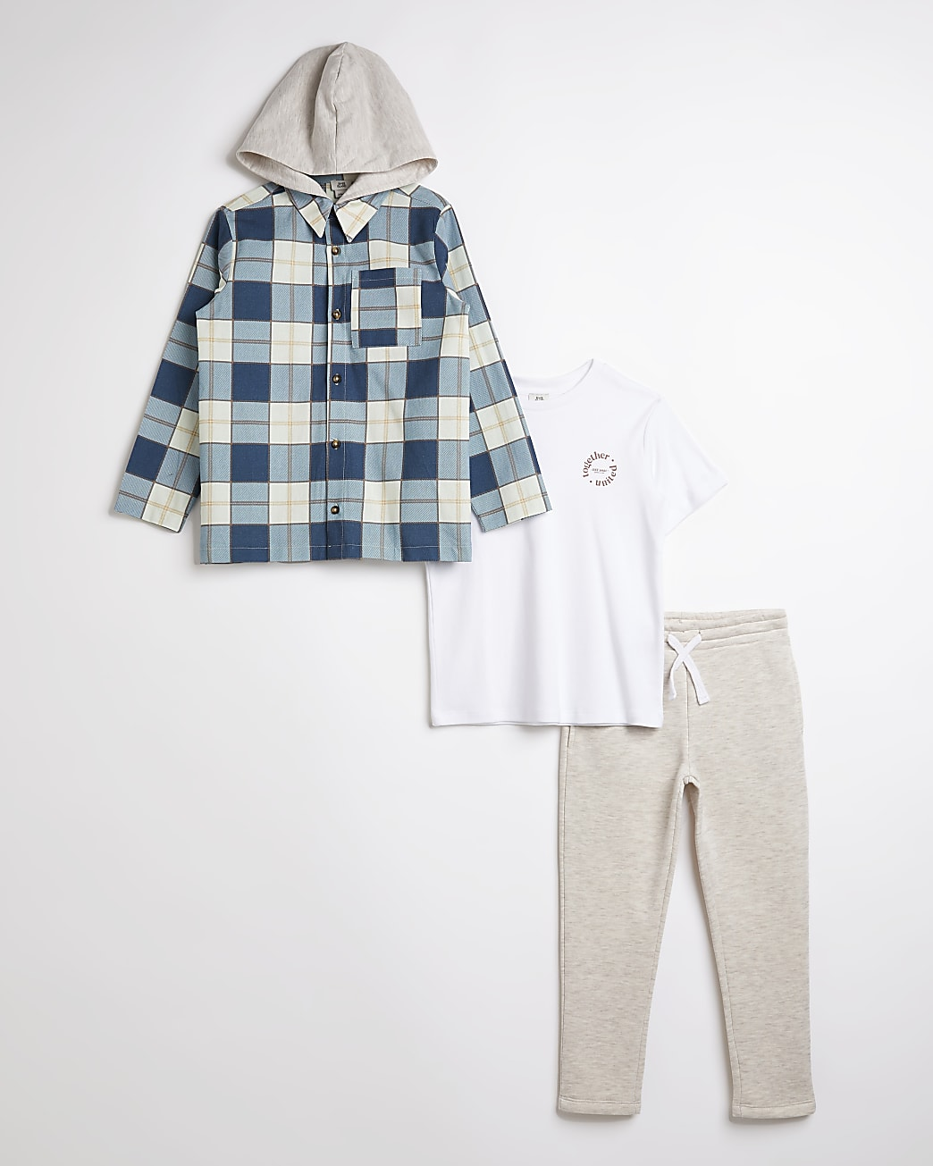 Boys blue check hooded shacket 3 piece outfit