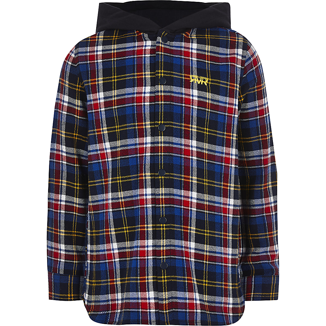 Boys blue check hooded shirt