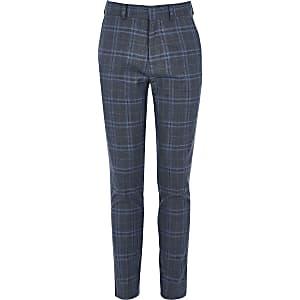 Boys blue check slim fit suit trousers