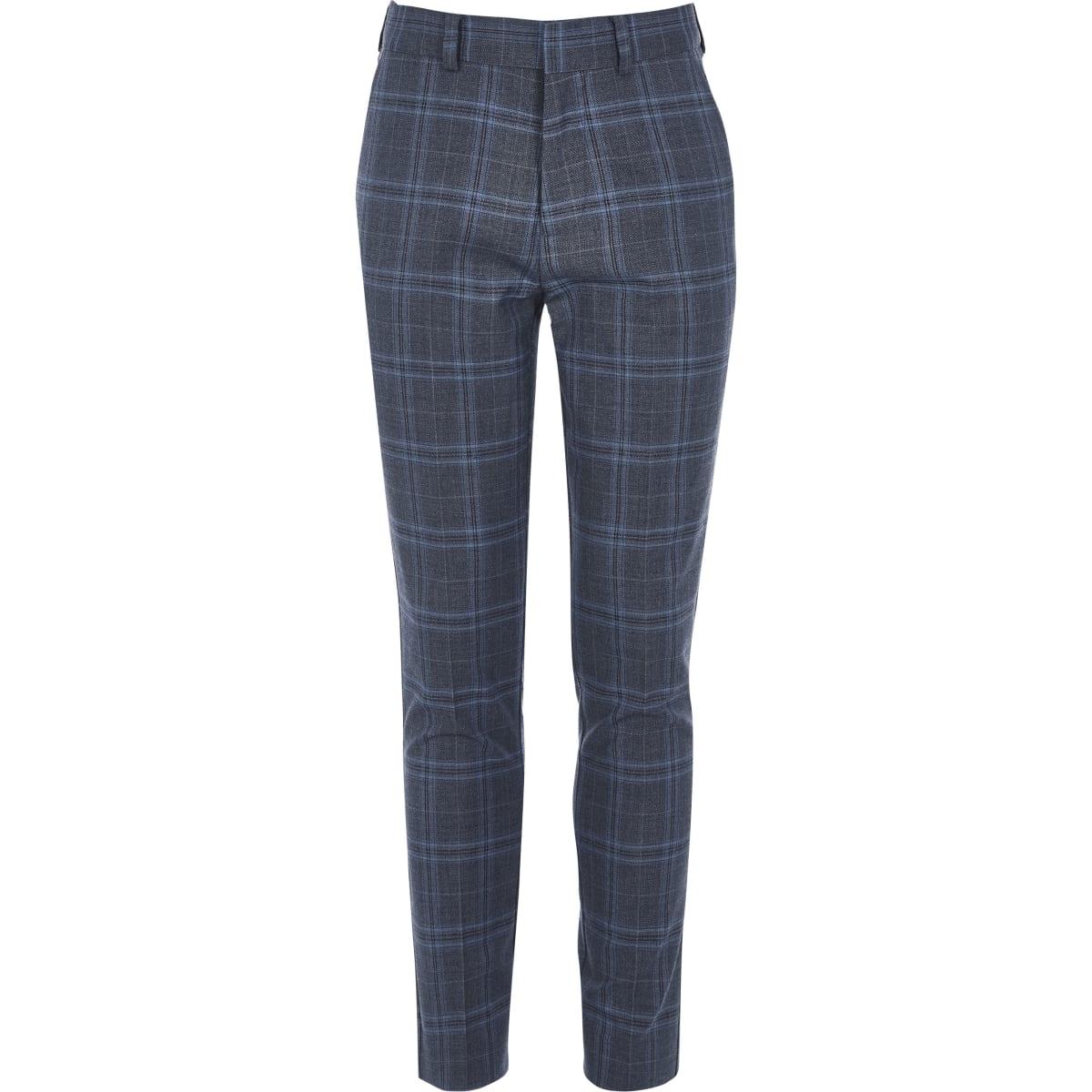 Blauwe geruite slim-fit pantalon voor jongens