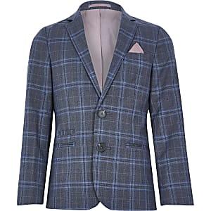 Blazer de costume bleu à carreaux pour garçon
