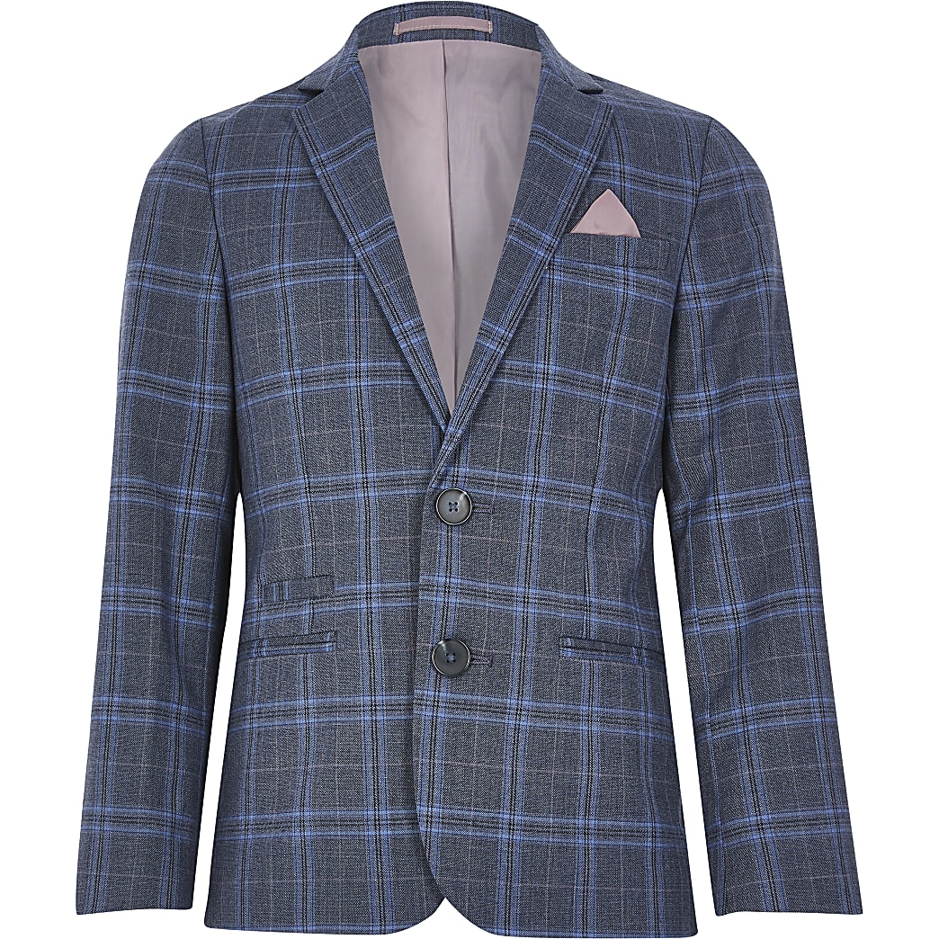 Boys blue check suit blazer