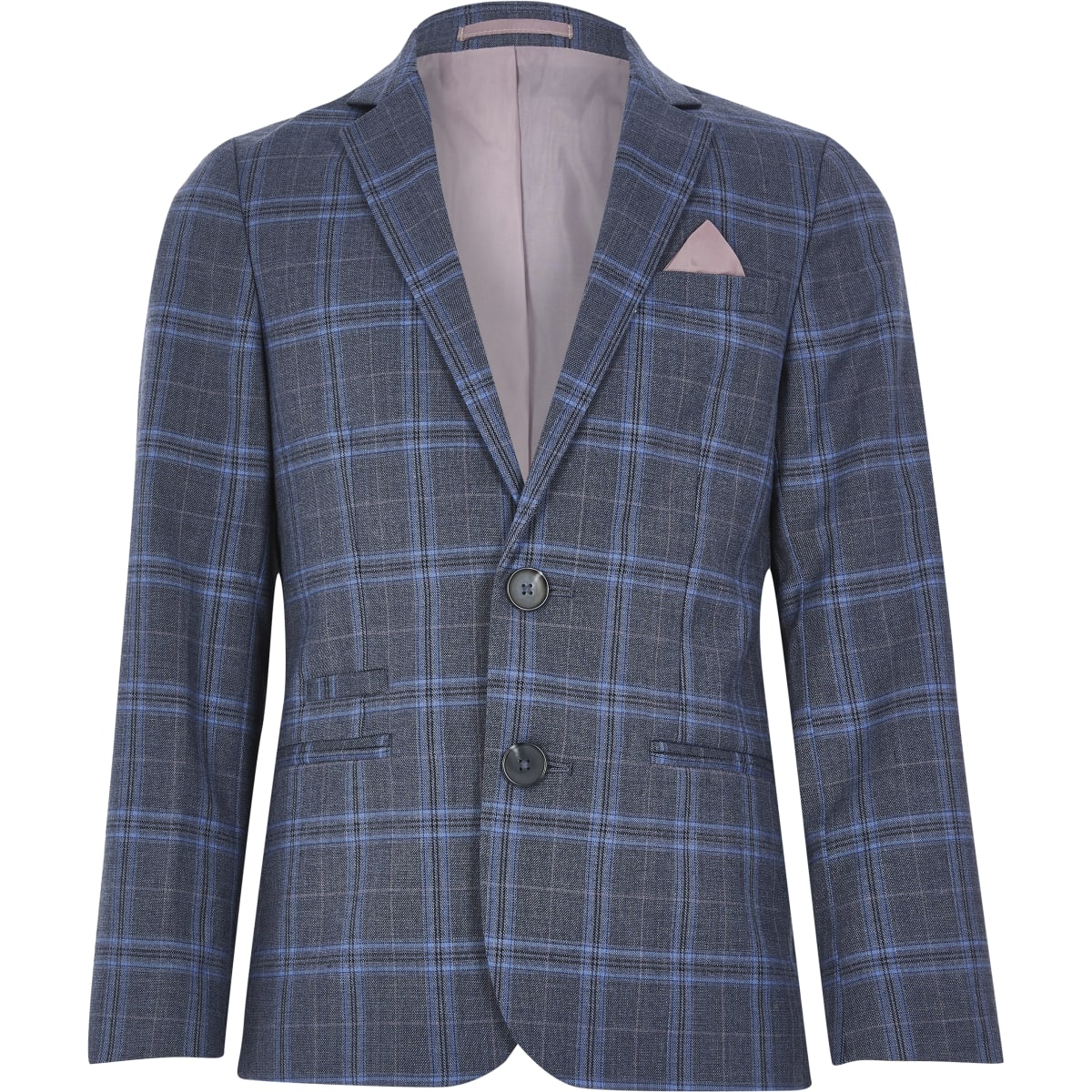 Boys blue check suit blazer