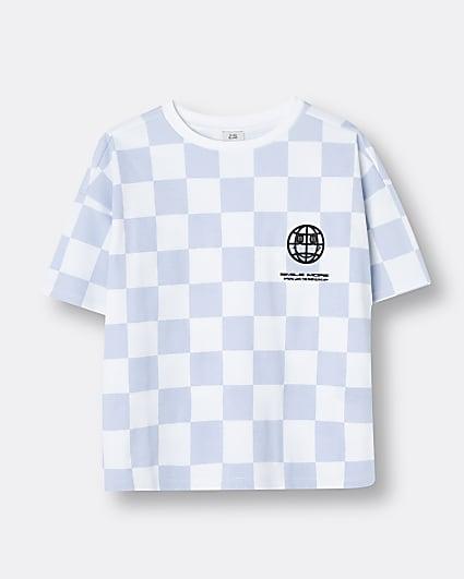 Boys blue checkerboard t-shirt
