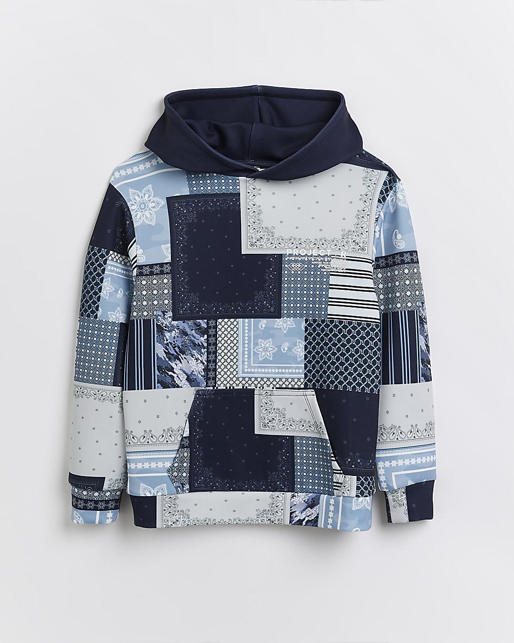 Boys blue colour block hoodie