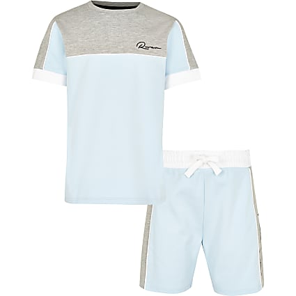 Boys blue colour block outfit