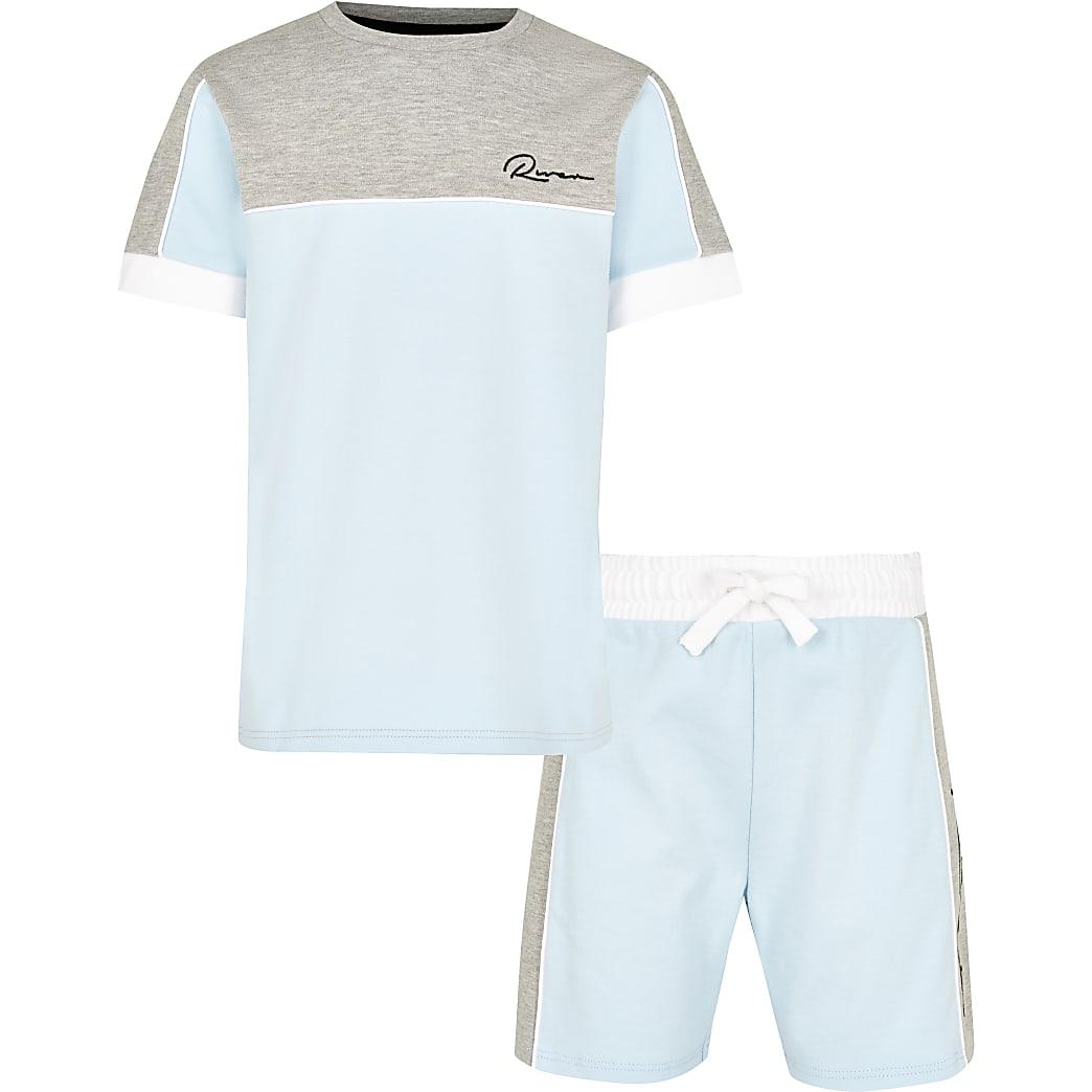 Boys blue colour block outfit